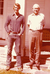 My grandfather and I standing outside his home in Chester Basin, Nova Scotia